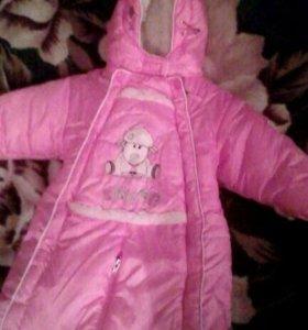 Детский зимний комбинезон почти новый носили 2мес.