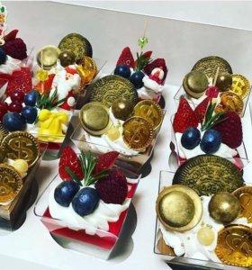 Шоколадный и фруктовые десерты