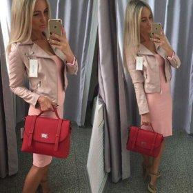Новая куртка косуха цвета пудры розовая