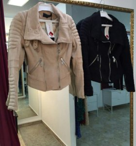 Новая замшевая куртка косуха бежевая черная