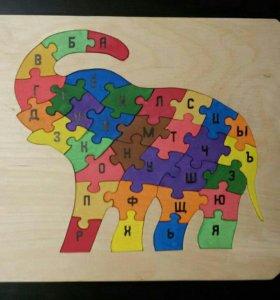 Развивающие пазлы-алфавит для детей в форме слона.