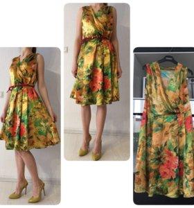 Шелковое платье, р44