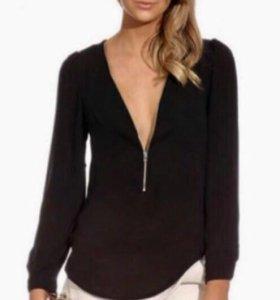 Блуза Блузка рубашка на молнии чёрная женская