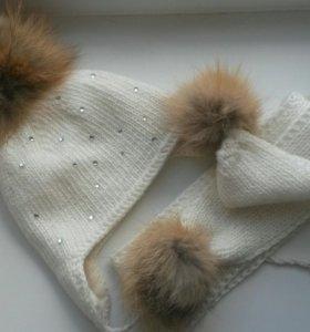 Набор шапка и шарф нат.мех/шерсть