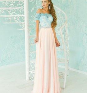 Вечернее платье, комбиниров. (шёлк,шифон,кружево)