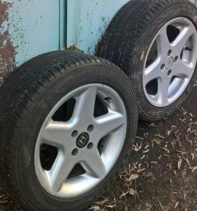Диски R15 + шины yokohama 195/55R15 85h 2шт.бу.