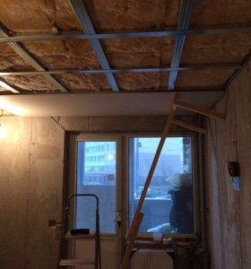 Монтаж потолков, стен, перегородок из ГКЛ
