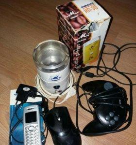 Кофемолка,телефон, контроллер, мышка на запчасти