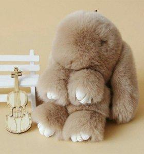 Брелок Кролик из меха Светло-кофейный