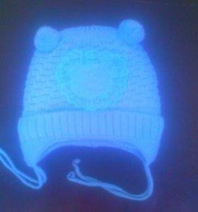 Тёплая,детская шапочка от 0-3 мес.