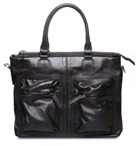 Кожаная деловая сумка Hadley Torn Black