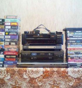 ДВДи 2шт.,и Видео маг 2 шт., Кассеты и диски.