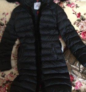 Пуховое пальто б/у.