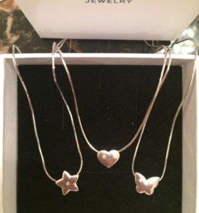 Колье с бриллиантом новое серебро