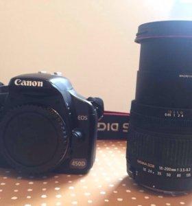 Зеркалка Canon EOS 450D + Объектив Sigma 18-200