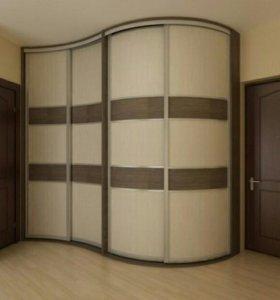 Шкаф-купе 4х створчатый с радиусными фасадами.