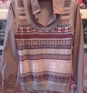 Рубашка- обманка, с жилетом