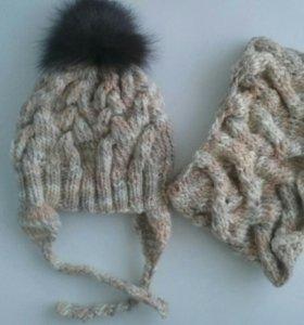 Вязаные шапка со снудом