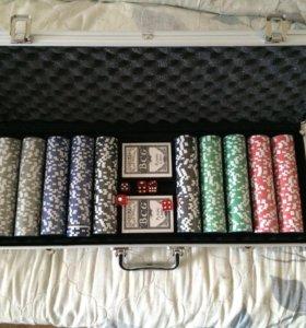 Покерный набор 500 фишек в алюминиевом кейсе новый