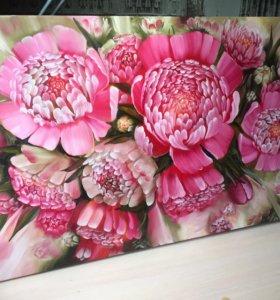 Картина маслом на холсте цветы пионы