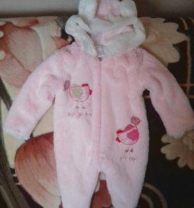 Детский мягкий комбинезон для девочки 2-6 месяцев