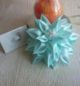 Голубой цветок заколка/ободок