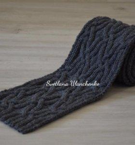 Мужской вязаный шарф с аранами
