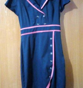 Платье, синие с розовыми вставками