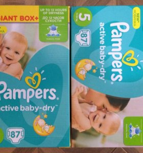 Pampers active baby dry 5 87шт, подгузники