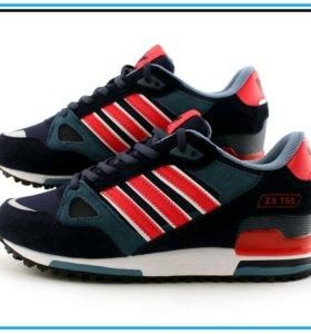 Кроссовки Adidas ZX 750 синие с красным