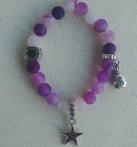 Именные браслеты на заказ аметист камень кулон