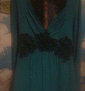 Платье в пол зелёное