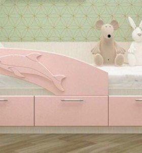 Кровать детская розовый металлик новая