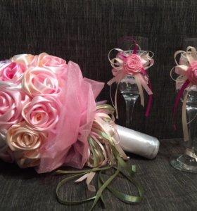 Букет-дублёр и бокала для невесты