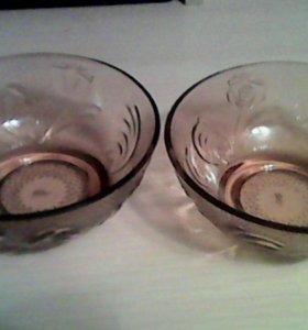 Вазочки коричневое стекло
