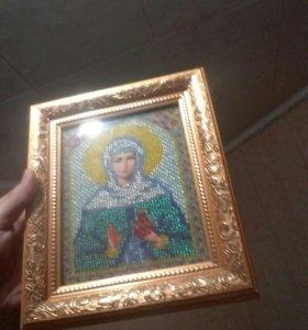 Именная икона Иоанна, вышитая чешским биссером