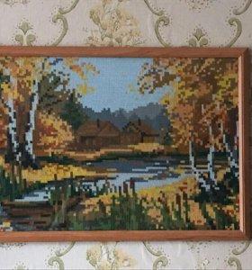 """Картина """"осень""""вышивка крестом"""