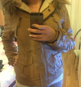 Куртка кожанка тёплая