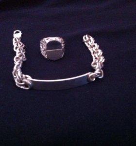 серебро мужское: браслет и кольцо