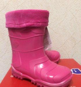 Детская обувь резиновые сапоги утеплённые