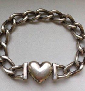 Классный браслет цепь с сердцем серебро 925 47гр