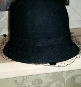 Шляпка клош с вуалью новая