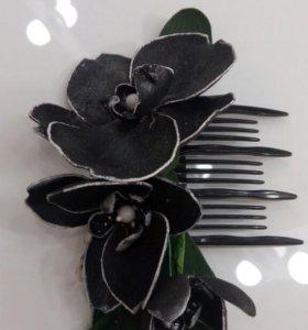 """Заколка для волос """"Орхидея"""". Цветы из фоамирана."""