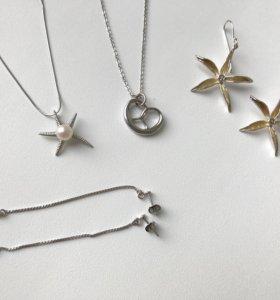 Серебро подвески с цепочками и серьги