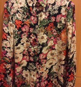 Рубашка , блузка с цветочным принтом