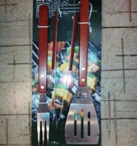 Новый набор для барбекю:вилка,лопатка,щипцы