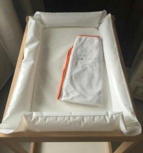 Пеленальный столик IKEA с матрасом и чехлом