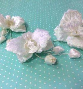 Цветы, орхидея из японского бархата, ручная работа