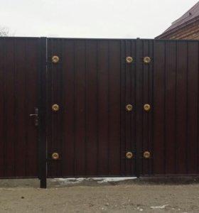 Ворота, двери, навесы и оградки.