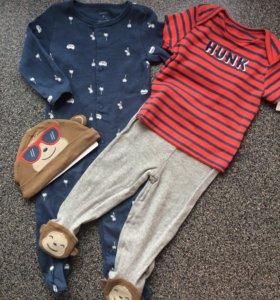 Новый комплект Carters (слип,штаны,футболка,шапка)